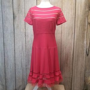 Tadashi Shoji Short Sleeve Dress Coral Large